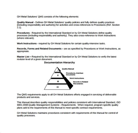 sample quality manual template   documents