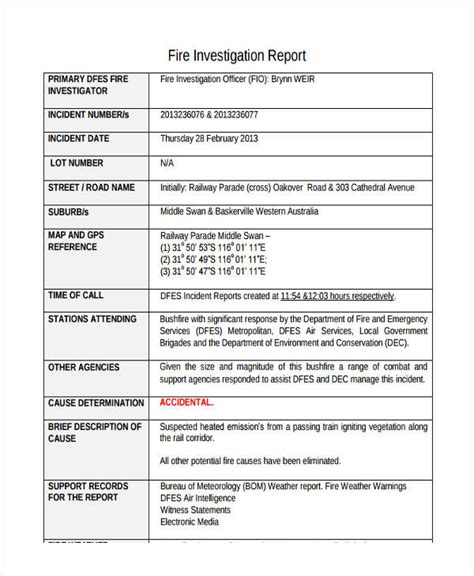 fire incident investigation form 11 investigation report sles and exles pdf