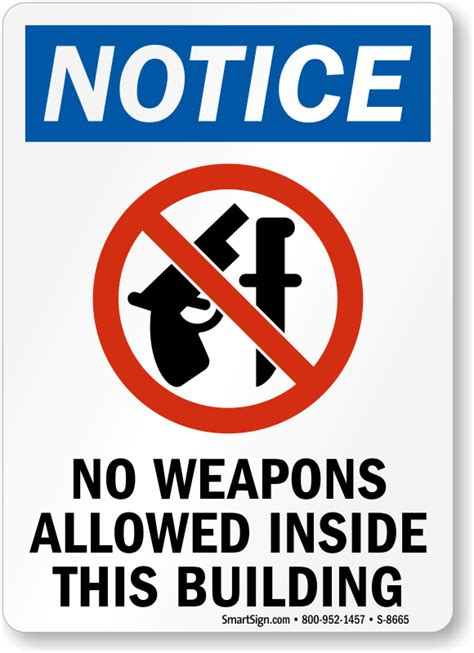 weapons allowed building sign osha safety signs sku