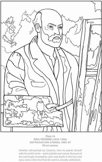 Coloring Portrait Self Pages Dover Cezanne Adult