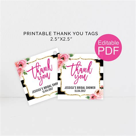 kate thank you tags template diy floral thank you tag