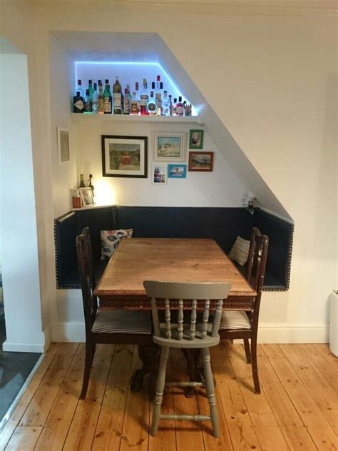 Dining booth under stairs    For My Home   Pinterest
