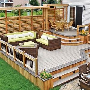 Variations sur deux tons pour le patio patio for Modele de terrasse en bois exterieur 4 ecran dintimite exterieur patio du nord