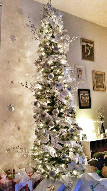 white silver skinny christmas tree christmas tree