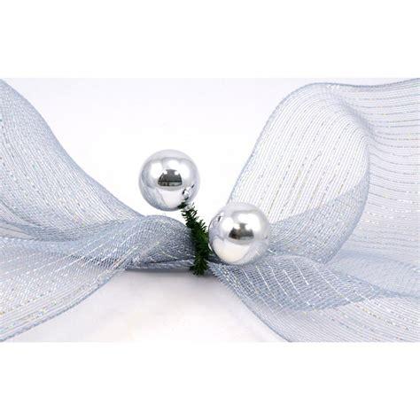 6 quot green tinsel ties w 50mm balls silver set of 12