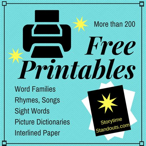 free homeschool preschool and kindergarten printables and 343 | More than 200 Free Printables at StorytimeStandouts.com 1