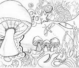 Coloring Adult Printable Drawing Drug Sheets Colouring Books Google Mushrooms Trippy sketch template