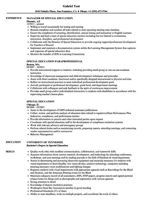 Special Education Resume by Special Education Resume Sles Velvet