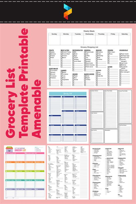 7 Best Grocery List Template Printable Amenable ...