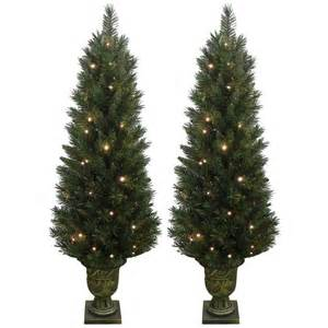 set of 2 prelit indoor outdoor green garden pathway christmas trees