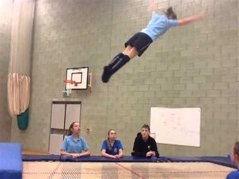 Half twist into front drop - Trampolining - YouTube