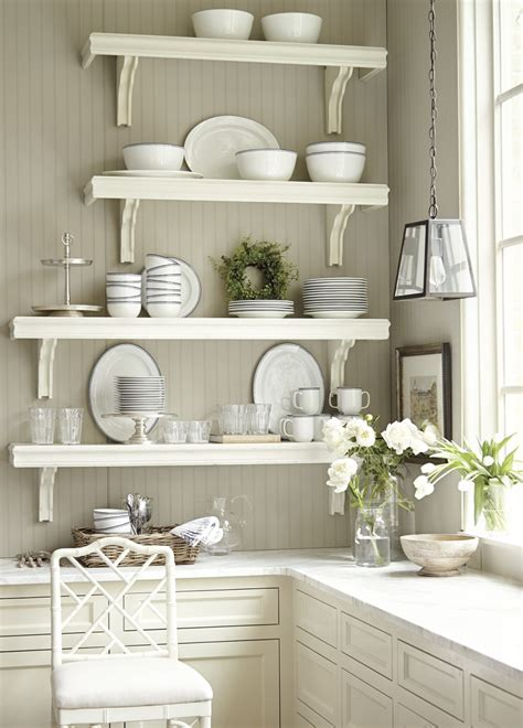 light grey kitchen walls floating light brown wooden mounted shelves with 6994