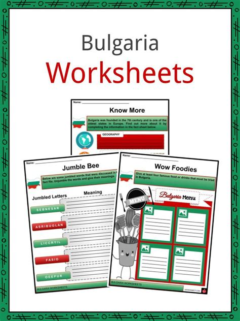 bulgaria facts worksheets historical background  kids
