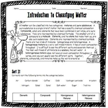 introduction to classifying matter worksheet high school students worksheets and high school