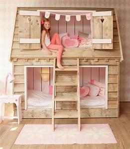 Cabane Chambre Fille : simple chambre enfant en rose lit cabane fille with cabane fille chambre ~ Teatrodelosmanantiales.com Idées de Décoration