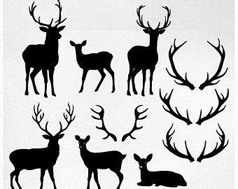 deer clip art silhouettes outlines buck  doe party