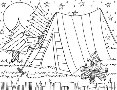 camping coloring page   kids daisy scout ideas