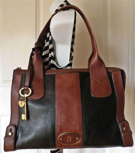 fossil large black brown leather weekender tote shoulder handbag purse euc fossil