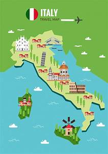 Italy map background Vector