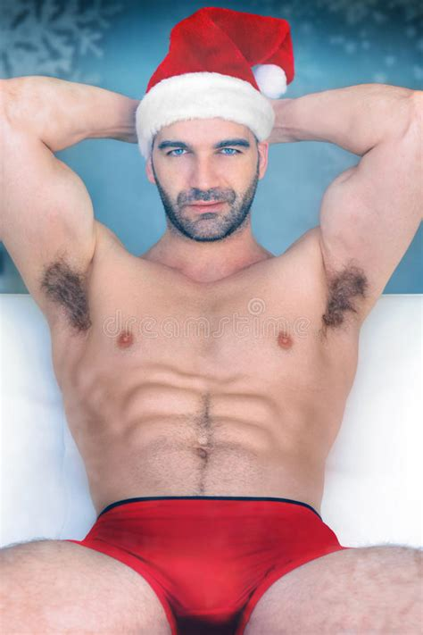 Po Sexy Do Homem De Santa Foto De Stock Imagem De