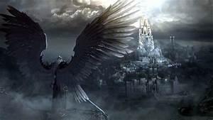 Fantasy Angel Warrior Sword City Wings Castle Wallpaper ...
