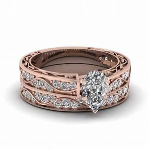marquise cut antique diamond filigree wedding set with With vintage filigree wedding ring sets