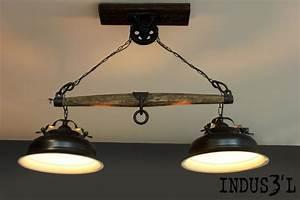 Suspension Luminaire Industriel : suspension indus3 39 l avec bachu et poulie industriel suspension luminaire montreal par ~ Teatrodelosmanantiales.com Idées de Décoration