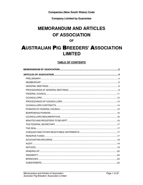 Articles Of Association Template Non Profit