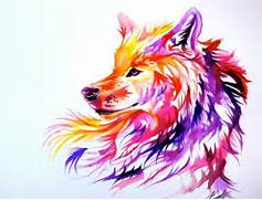 Wolf painting  Wolves and Paintings on Pinterest  Colorful Wolf Painting