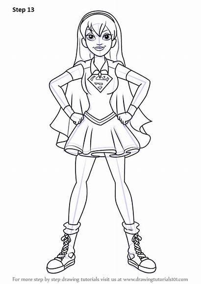 Draw Super Hero Supergirl Dc Step Drawing