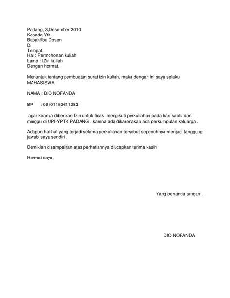 surat memohon cuti kuliah bekerja club