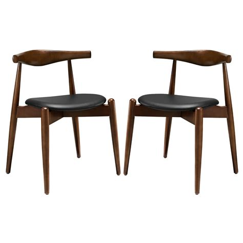 set   stalwart contemporary wood dining side chairs wupholstered seats dark walnut black