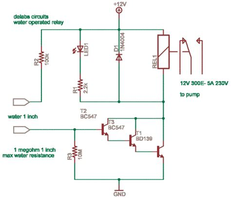 simple water operated relay delabs schematics electronic circuits