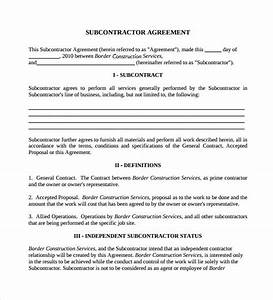 sample subcontractor agreement 14 documents in pdf word With contract for subcontractors template