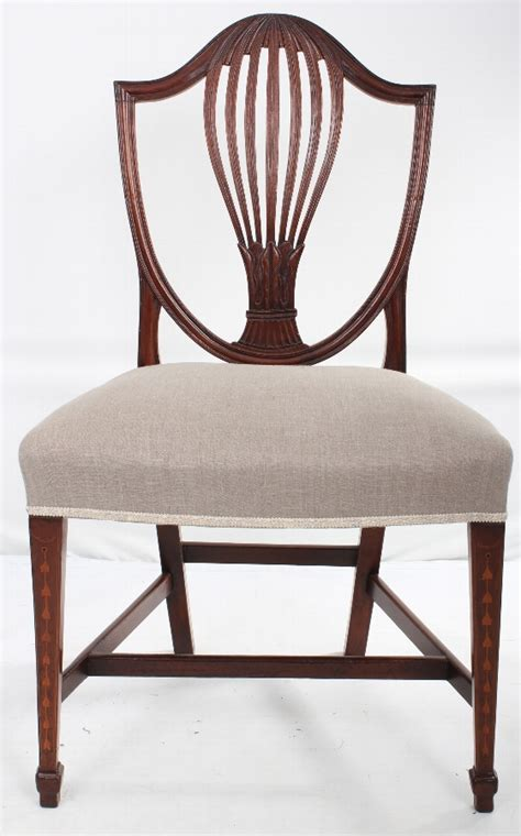 antique set of 4 inlaid hepplewhite style dining chairs