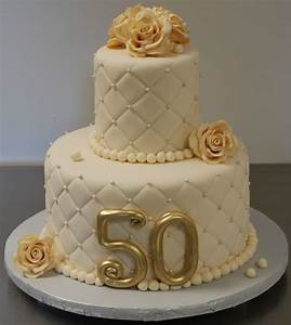 Gold and elegant 50th anniversary cake decoration idea for 50th wedding anniversary cake ideas