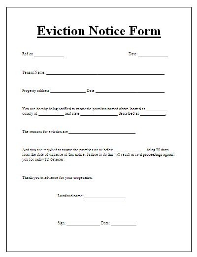 eviction notice template notice to vacate form free word s templates