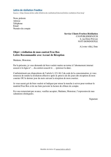 modele lettre retractation free exemple lettre resiliation mobile free