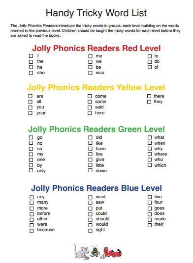 jolly phonics tricky word list jolly phonics pinterest