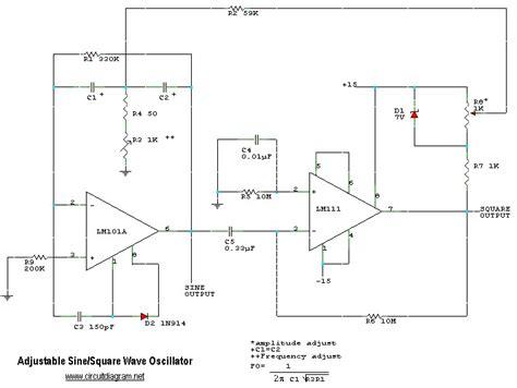 Adjustable Sine Square Wave Oscillator Circuit Schematic