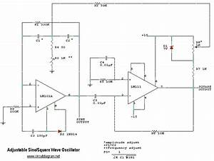 Adjustable Sine And Square Wave Oscillator Circuit Diagram