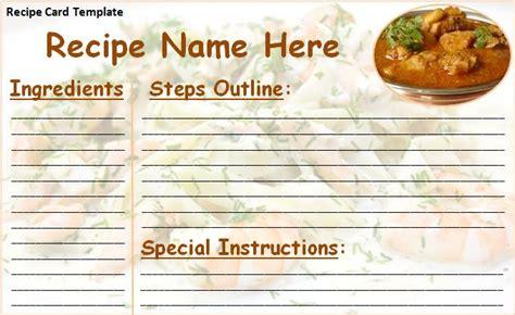 recipe card   word templates