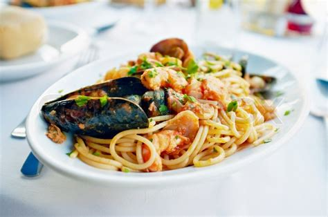 fresh seafood pasta spaghetti clams stock photo