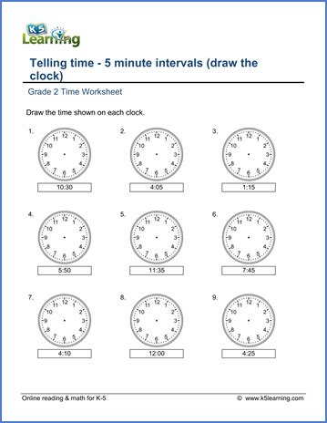 grade 2 telling time worksheets 5 minute intervals draw the clock k5 learning