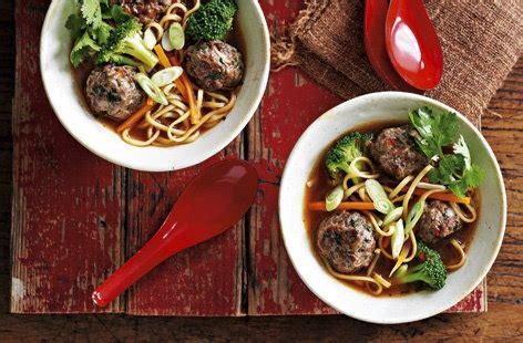 thai style meatballs   noodle  vegetable broth