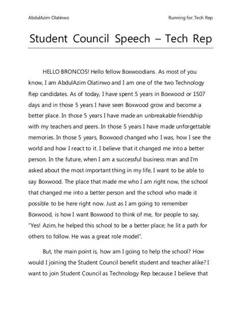 student council speech student council speech student