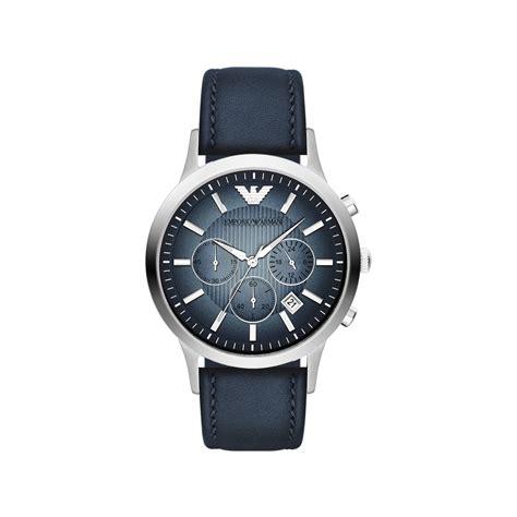 montre emporio armani homme chronographe cuir bleu homme mod 232 le ar2473 maty