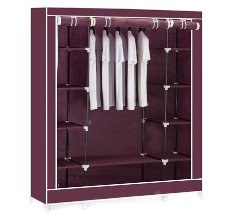 Cupboard Hanging Rail by Canvas Clothes Wardrobe Cupboard Hanging Rail With
