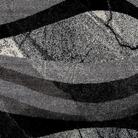 tapis design moderne poils ras vagues effet abstrait gris noir anthracite tapis tapis poil ras