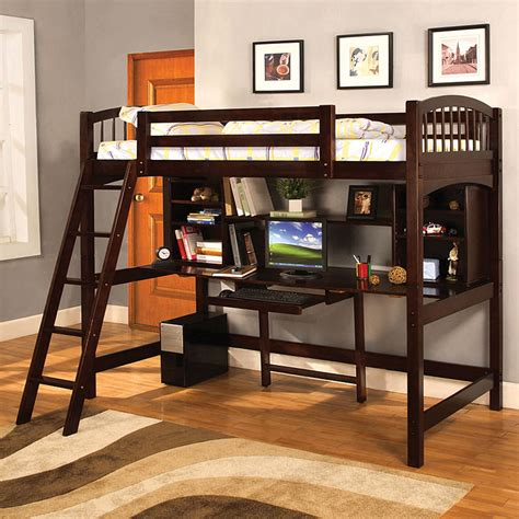 american bunk bed with desk shop furniture of america hayden espresso twin study loft